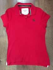 RED POLO TOP BOYS L ABERCROMBIE & FITCH SUMMER SPORT FOOTBALL GOLF SMART CASUAL