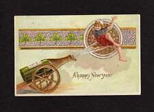 New Year Postcard child riding cork shooting out of champagne bottle 1910
