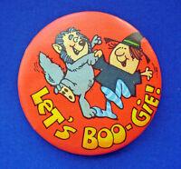 Hallmark BUTTON PIN Halloween Vintage WEREWOLF WITCH Lets BOOGIE Holiday Pinback