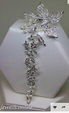 Diamante crystal pearl long arrière fleur pince à cheveux mariée mariage accessoires