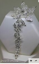 Diamante crystal Pearl Long Trailing Flower Hair Clip Bridal Wedding Accessories