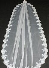 827v Charming 1T Bridal Mantilla Embroidered Edge Ivory Wedding Veil 1.5M