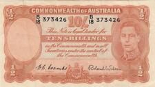 Australia 1952 Coombs Wilson Ten Shillings Note gVF