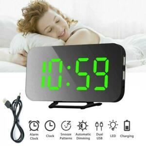 Digital Clock Mirror LED Alarm Clock Night Light Thermometer USB Charging AU