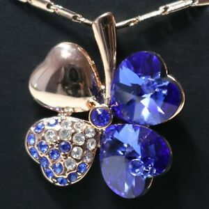 3.5 Ct Heart Blue Sapphire Necklace Women Jewelry 14K Rose Gold Plated