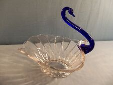 Large Glass Open Back Swan Candy Dish w/ Long Cobalt Blue Neck & Head