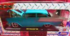 1957 CHEVROLET HARDTOP, 1/24 M2 GROUND POUNDERS, TEAL AND WHITE
