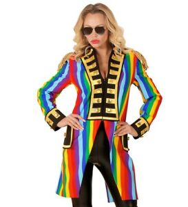 Rainbow Tailcoat Circus Ringmaster Gay Pride Frock Coat Fancy Dress Costume S-XL