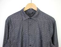 Armani Exchange Mens Light See Through Black Pattern Long Sleeve Black Shirt - M