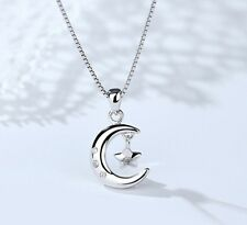 Moon Star Crystal Pendant 925 Sterling Silver Chain Necklace Womens Jewellery UK