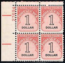 #J100 PB 1959  $1.00  POSTAGE DUE SHINY GUM ISSUE MINT-
