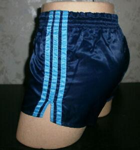 Adidas Glanz Nylon Shorts Sporthose Retro Racer Vintage Sprinter Gr.5 blau Gym