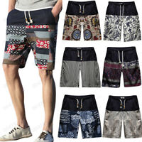 Men Boy Summer Casual Ethnic Style Print Loose Cotton Hemp Beach Shorts Mid Pant