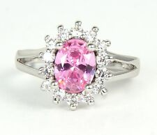 Women's 18 Carat White Gold plated Pink Cubic Zircon Ring Jewellery UK Size J