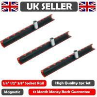 3pcs Magnetic Strip Rail Socket Holder Storage Tray 1/4, 3/8, 1/2 Socket