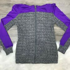 Material Girl Active Full Zip Hooded S Gray Purple Jacket