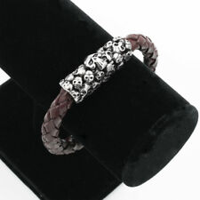 Bracelet Stainless steel Magnetic Clasp Skull Tomb Braided Brown leather
