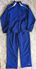 REEBOK Womens L Track Suit Royal Blue White Windbreaker Jacket Pants