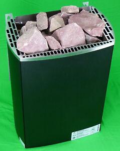 Saunaofen 9,0 kW Monuments IRON 1. Sauna Heizgerät mit Steinen roter Quarzit