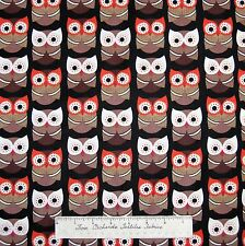 Owl Fabric - Scandinavian Owls Brown on Black C2444 - Timeless Treasures 30""