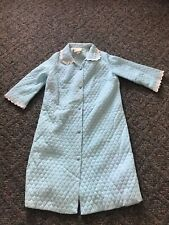 Vtg Say Lu Satin Blue Quilted Housecoat Robe w/ Belt Full Length Button Front