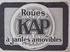 PUBLICITÉ ROUES KAP A JANTES AMOVIBLES