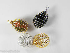 TWO Round PENDANT CAGE GOLD & SILVER Finish CRYSTAL Tumbled Stone BEAD