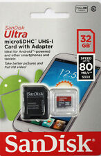 SanDisk 32GB Micro SD SDHC 80MBs Ultra Class 10 Memory Card 32G