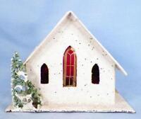 Christmas House Train Yard Putz Japan White House & Roof Scrub Tree As Is #33