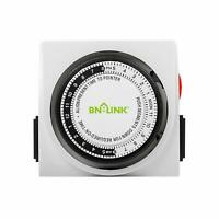 BN-LINK Heavy Duty Mechanical Timer Dual Outlet 24 Hours 3 Prongs Christmas