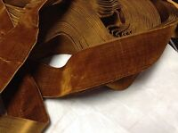 "5 Yard Rust HANK FRENCH 1 3/4"" Vintage Silk Rayon Satin Back Velvet Ribbon"