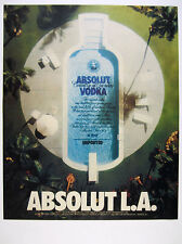 1989 Absolut L.A. vodka bottle shaped swimming pool LA los angeles print Ad