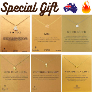 DOGEARED Gold Necklace GIFT CARD Charm Pendant Chain Birthday Love Friend Luck