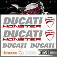 6pcs kit Argento Rosso Adesivi compatibile con Moto Ducati Monster 696 769