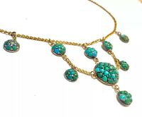 Victorian Pave Turquoise clusters turquoise seeds 9K closed backs Necklace