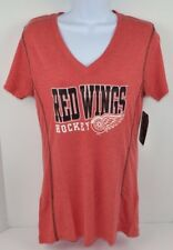NHL DETROIT RED WINGS Women's Poly V-Neck Tee T-Shirt, MEDIUM Red Heather