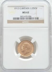 1912 British King George V Half Sovereign Gold Coin NGC MS62