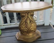 VTG SIDE  Accent Table Scroll Gold Tone Hollywood Regency