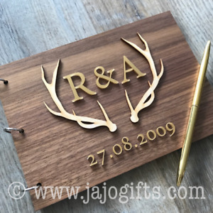 Luxury Stag Inlaid Personalised Wedding Guest Book