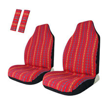 Red Baja Front Seat Covers Stripe Colorful Saddle Blanket Universal