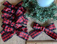 8 Handmade Bows ~ Red Gingham Buffalo Check Primitive Farmhouse Christmas