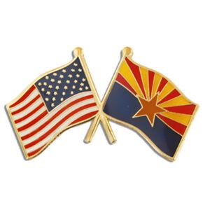 PinMart's Arizona and USA Crossed Friendship Flag Enamel Lapel Pin