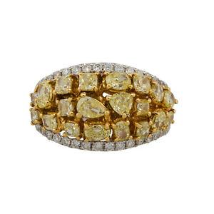 18k White Gold 2.74ctw Multi Shape Diamond Cluster Wide Ring