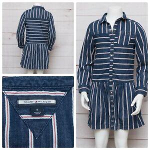 Tommy Hilfiger Girls Size 8 Pearl Snap Button Up Blue Denim Striped Dress EUC