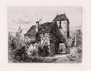"""Original ERNEST GEORGE Etching """"Cochem, Towered Gateway"""" FRAMED SIGNED COA"""