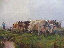 schönes,altes Gemälde__Bauer mit Ochsenpflug__signiert : de Bruyn__!