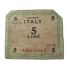 Italy 5 lire Allied Military Currency 1943