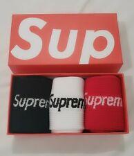Hypebeast Supreme Long Socks Black White Red color Unisex USA SHIPPER