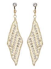 Pendientes de clip-oro con forma de gota cubiertos con Cristales Claro-Daisy G