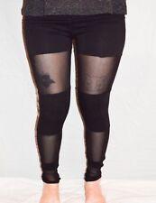 Black Cotton Leggings with Mesh Panels